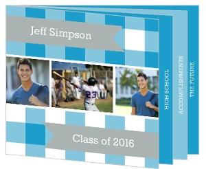 Blue Plaid Graduation Announcement