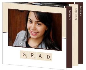 Brown Wood Grain Scrabble Graduation Invitation