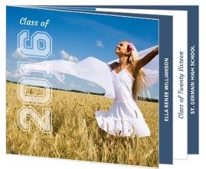 Blue White Graduation Announcement