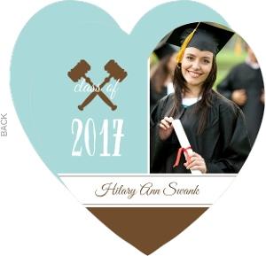 Blue Gavel Heart Graduation Announcement