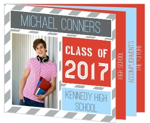 Graduation Announcement Red and Blue Striped Booklet