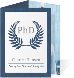 Navy Leaf Monogram PHD Graduation Announcement