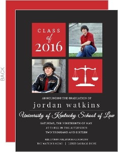 Red Law Scale Photo Graduation Announcement