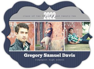 Blue and Gray Photo Bar Graduation Announcement