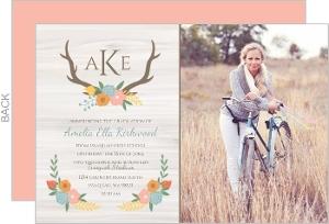 Rustic Pastel Floral Graduation Announcement