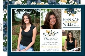 Simple Blue Floral Graduation Announcement