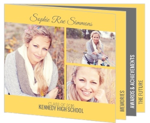 Graduation Announcement Yellow and Gray Photo Booklet