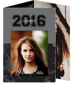 Trifold Graduation Announcement Gray Floral