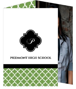 Graduation Thank You Card Green and Black Pattern