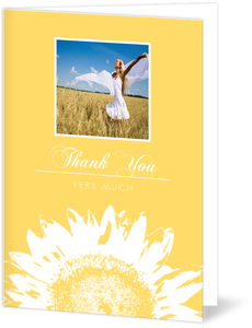 Yellow Sunflower Graduation Thank You Card