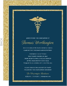 Bold Gold Faux Glitter Medical School Graduation Invitation