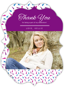 Bold Purple Photo Year Graduation Thank You Card