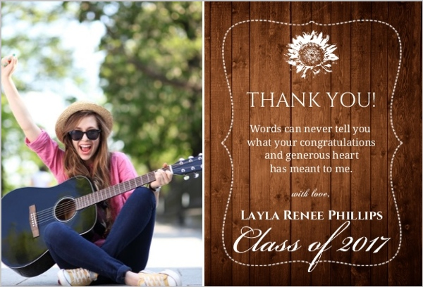 Rustic Wood Grain Collage Thank You Card | Graduation Thank You Cards