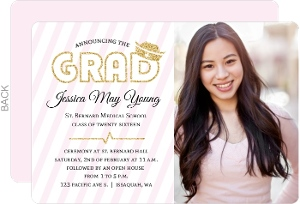 Beautiful Soft Pink Faux Glitter Nursing School Graduation Invitation