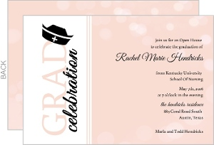 Nursing School Graduation Invitation Pink Bubbles