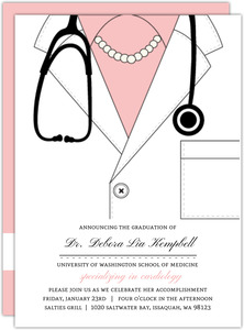 Pink Doctor Coat Medical School Graduation Invitation
