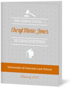 Gray Pattern & Orange Law School Graduation Invitation