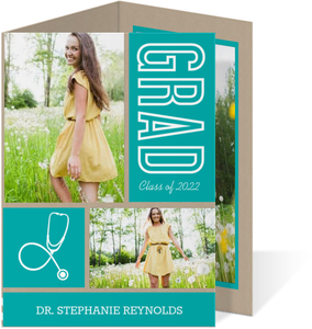Kraft Paper Turquoise and White Medical School Graduation Announcement