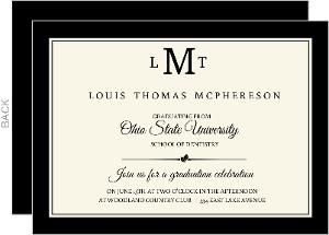 Monogram Cream And Black Formal Dental School Grad Invite