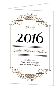 Graduation Invitation Black and Brown Formal