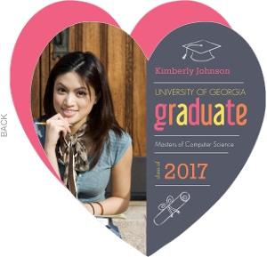Graduation Invitation Gray and Pink Heart