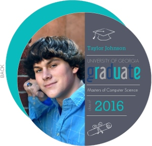 Graduation Invitation Gray and Blue Circle