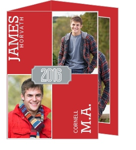 Simple Red and Gray Graduation Invitation