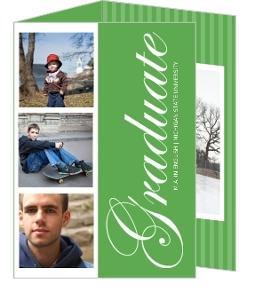 Green and White Photostrip Graduation Invitation