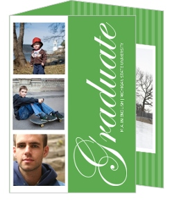 Green And White Photostrip Graduation Invitation