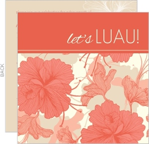 Floral Luau Themed Grad Party Invite