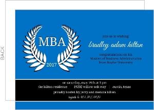 Blue Leaf Graduation Invitation