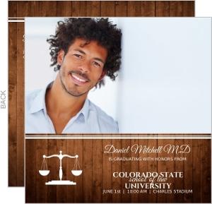 Woodgrain Classic Law School Graduation Invitation