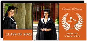 Orange and White Laurel Wreath Graduation Announcement