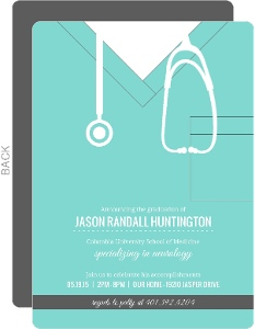 Turquoise Scrubs Medical School Graduation Invitation