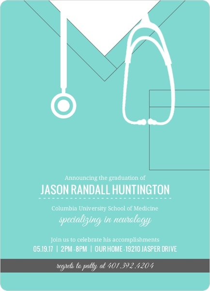 turquoise scrubs medical school graduation invitation  medical, Quinceanera invitations