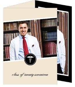Cream and Black Monogram Medical School Graduation