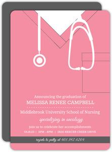 Pink Scrubs Nursing School Graduation Invitation