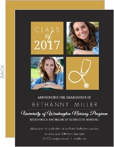 Gold Color Blocks Nursing School Invitation