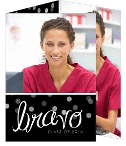 Bravo Black Confetti Nursing School Graduation Invitation