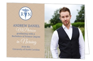 Tan And Blue Grad Invite