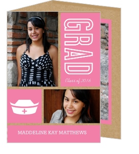 Kraft Paper Pink and White Graduation Announcement