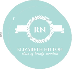 Blue and White Monogram Nursing Grad Invite