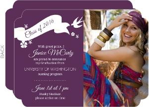 Purple Graduation Announcement