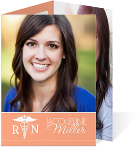 Peach Multifold Nursing Grad Invite