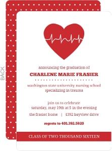 Red Heart Nursing School Graduation Invitation