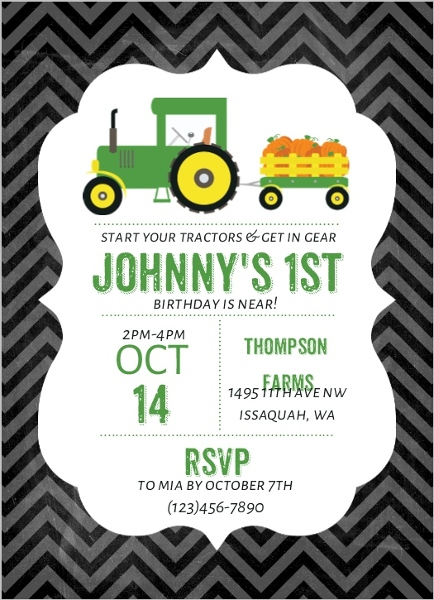 pumpkin patch tractor birthday party invitation | kids birthday, Birthday invitations