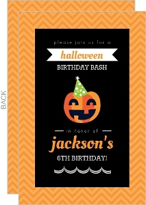 Party Pumpkin Halloween Birthday Invitation