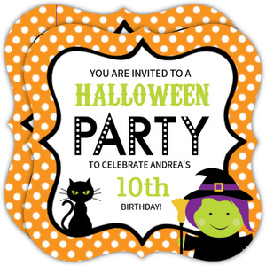 Orange Polka Dot Witch Halloween Birthday Party