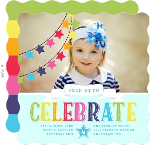 Rainbow Celebrations Kids Birthday Party Invitation Rainbow