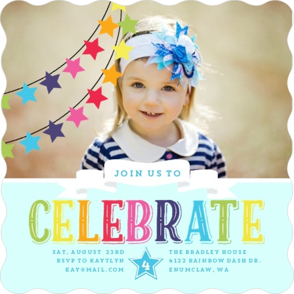 Rainbow Celebrations Kids Birthday Party Invitation